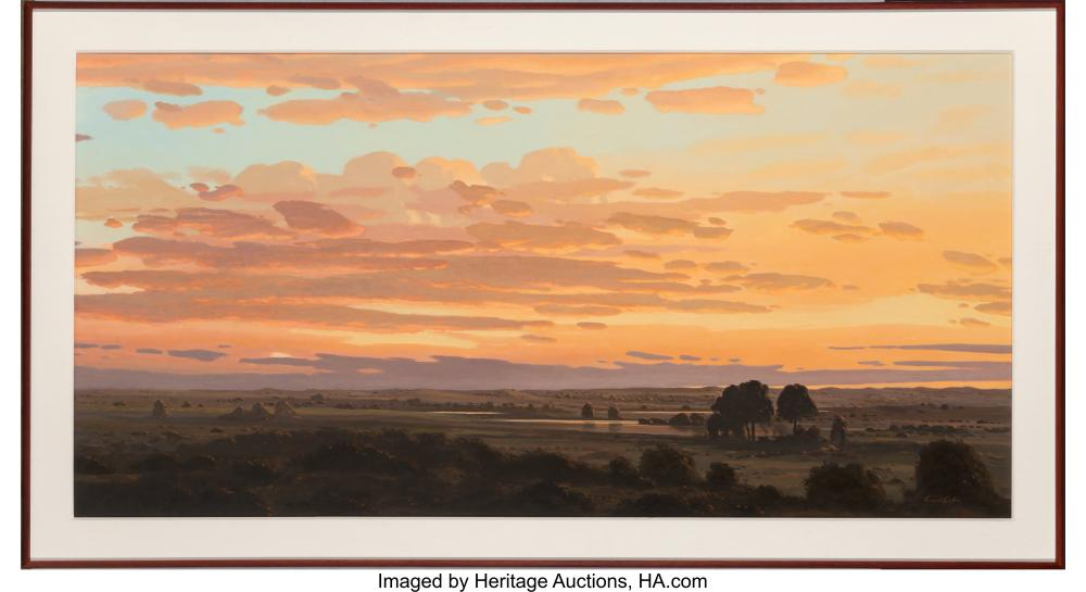 Lot 21113: David Caton (American, b. 1955) Sunset in the Lowlands Oil on canvas 32 x 64 inc