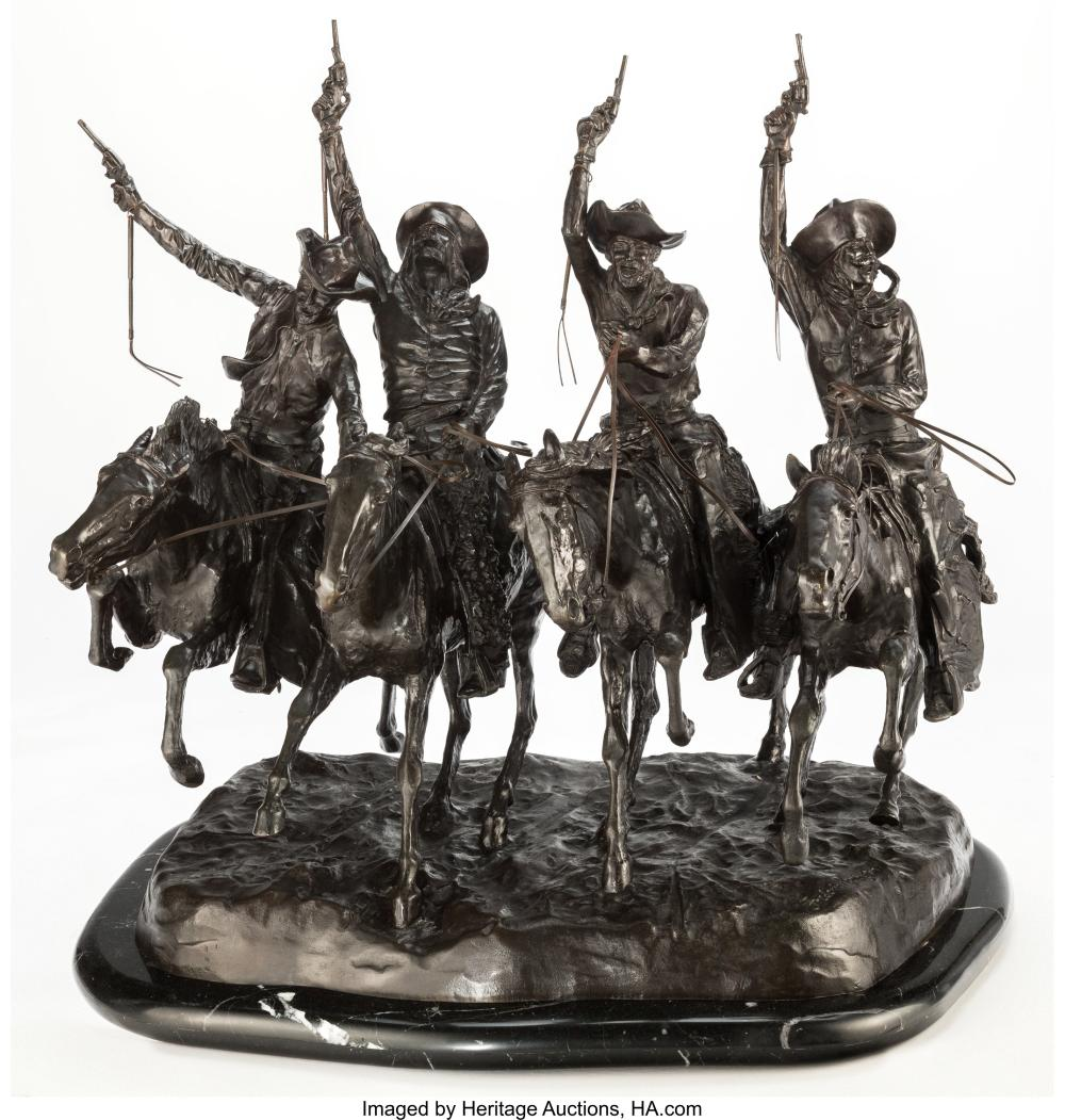 A Reproduction Bronze of Coming Through the Rye After Frederick Remington 28 x 2