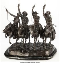 Lot 21106: A Reproduction Bronze of Coming Through the Rye After Frederick Remington 28 x 2