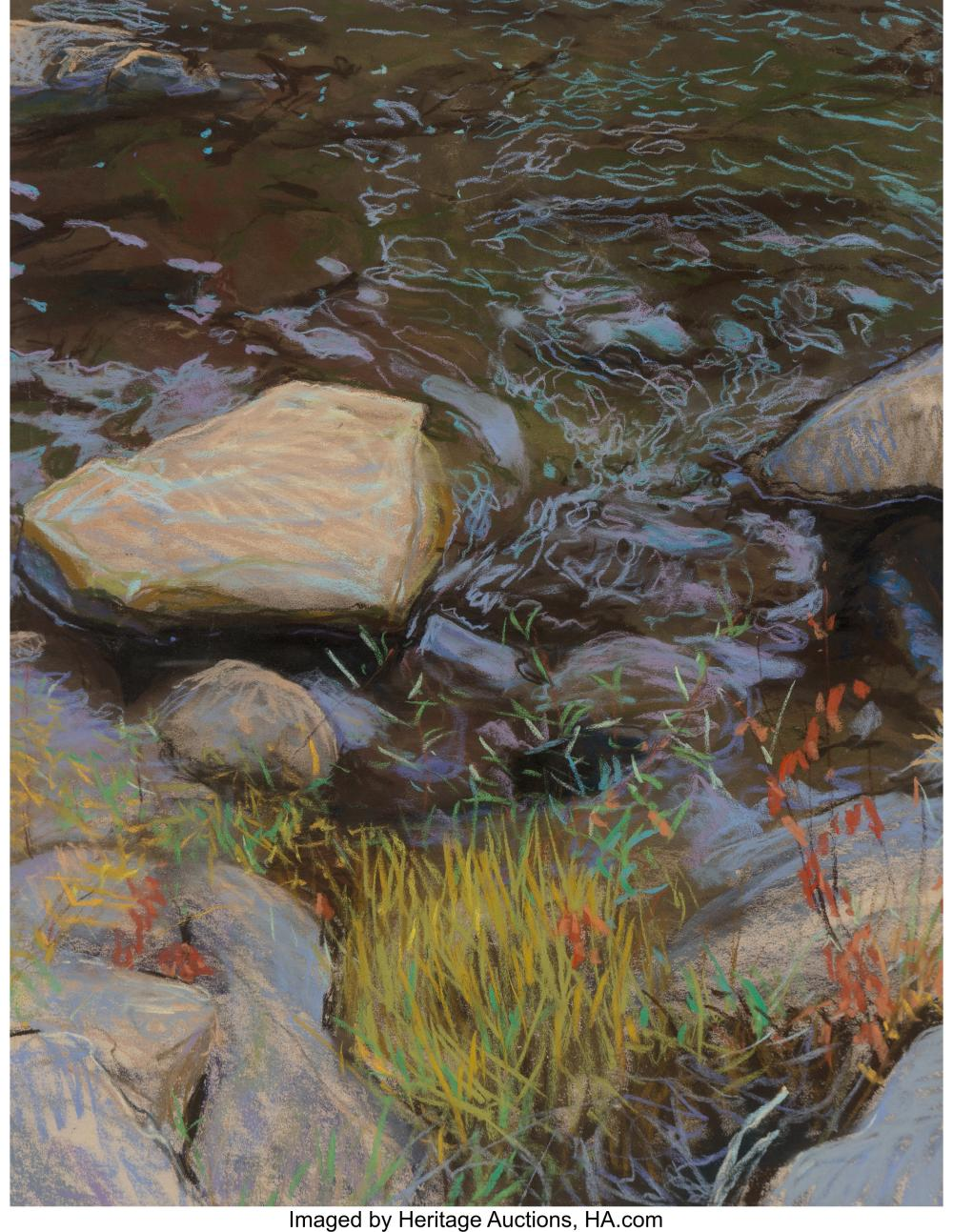 Kitty Wallis (American, b. 1938) Yuba River Pastel on paper 26-1/4 x 20-1/4 inch