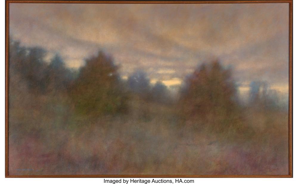 Lot 21117: Chris Burkholder (American, b. 1952) Twilight on Young Pines, 1985 Acrylic on ca