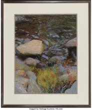 Lot 21115: Kitty Wallis (American, b. 1938) Yuba River Pastel on paper 26-1/4 x 20-1/4 inch