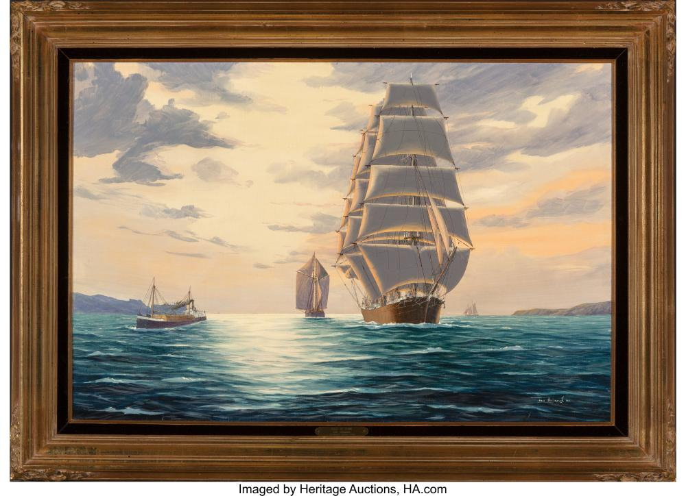 Lot 21103: Hans Skálagard (American, b. 1923) Falls of Clyde-Sailing in the Golden Gate at
