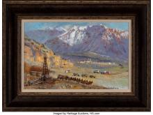 Lot 21120: Glen Spencer Hopkinson (American, b. 1946) Mule Train Oil on canvas 13 x 20 inch