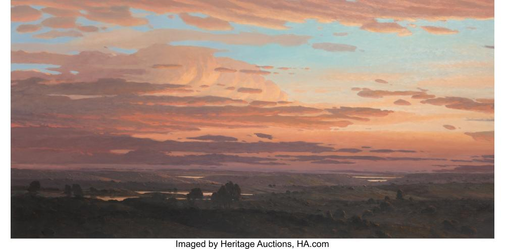 Lot 21112: David Caton (American, b. 1955) Sunrise in the Lowlands Oil on canvas 32 x 64 in