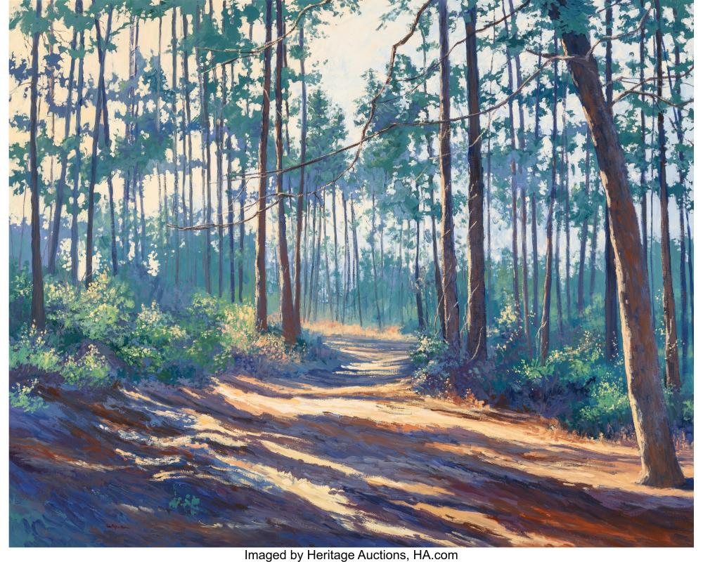 Ann Phifer Moore Reyes (American, 20th Century) Path Through the Pines Oil on ca