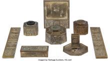 Lot 21133: Eight-Piece Tiffany Studios Gilt Bronze Bookmark Pattern Desk Set, circa 1900 Ma