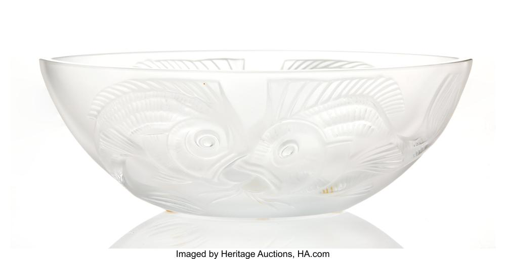 Lot 21137: A Lalique Frosted Crystal Bowl, post-1945 Marks: Lalique®,France 4-1/4 x 11-1/2