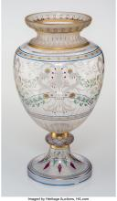 Lot 21129: A French Etched and Enameled Glass Vase, late 19th century 19-1/4 x 11 x 11 inch