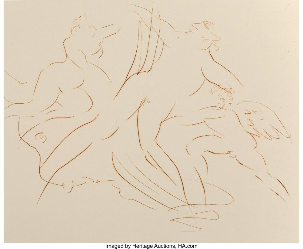 Reuben Nakian (1897-1986) Europa and the Bull VI, c. 1970 Etching  on paper 13-5