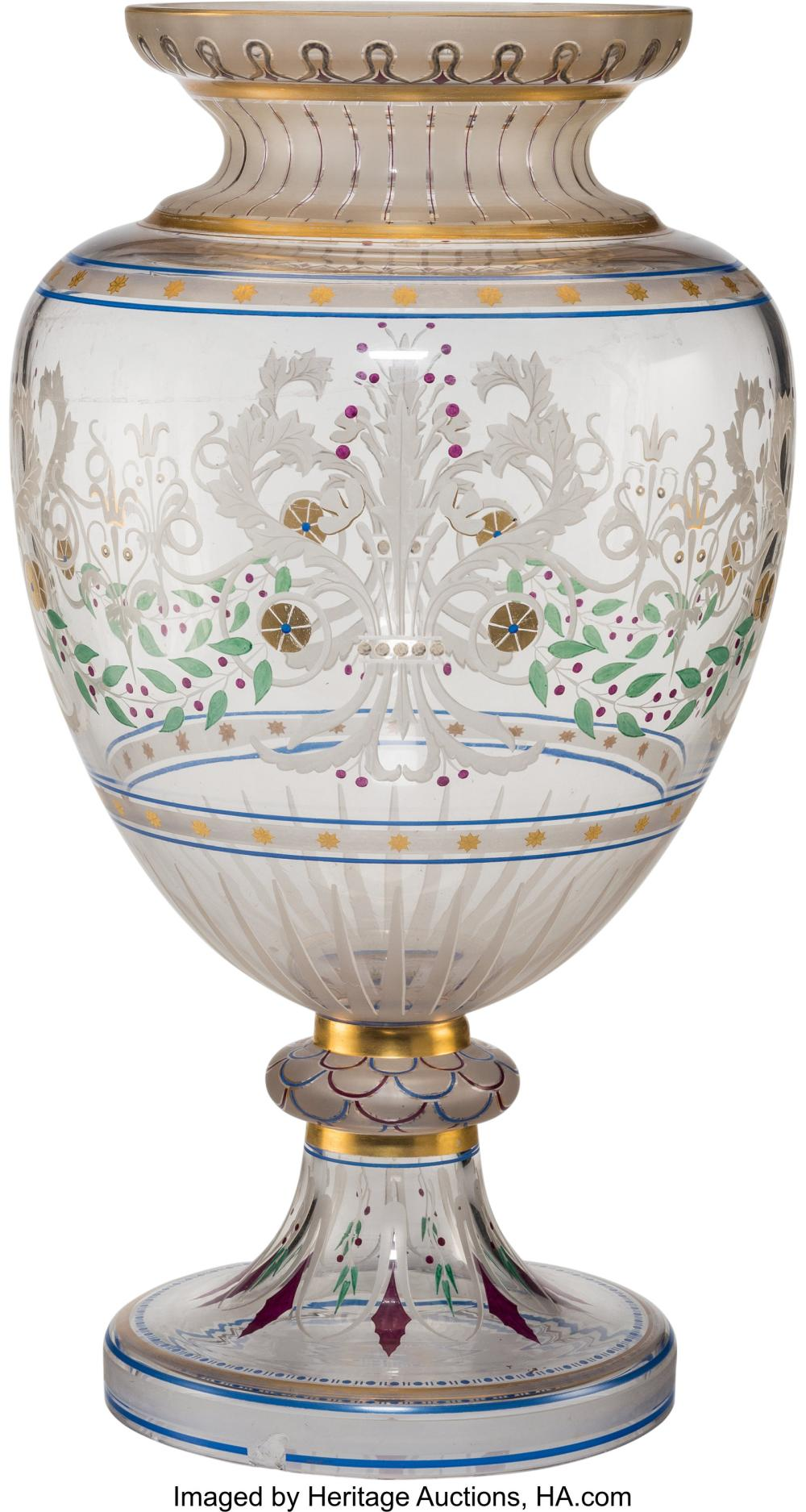 A French Etched and Enameled Glass Vase, late 19th century 19-1/4 x 11 x 11 inch