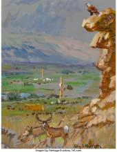 Lot 21122: Glen Spencer Hopkinson (American, b. 1946) Derricks in the Valley Oil on canvas