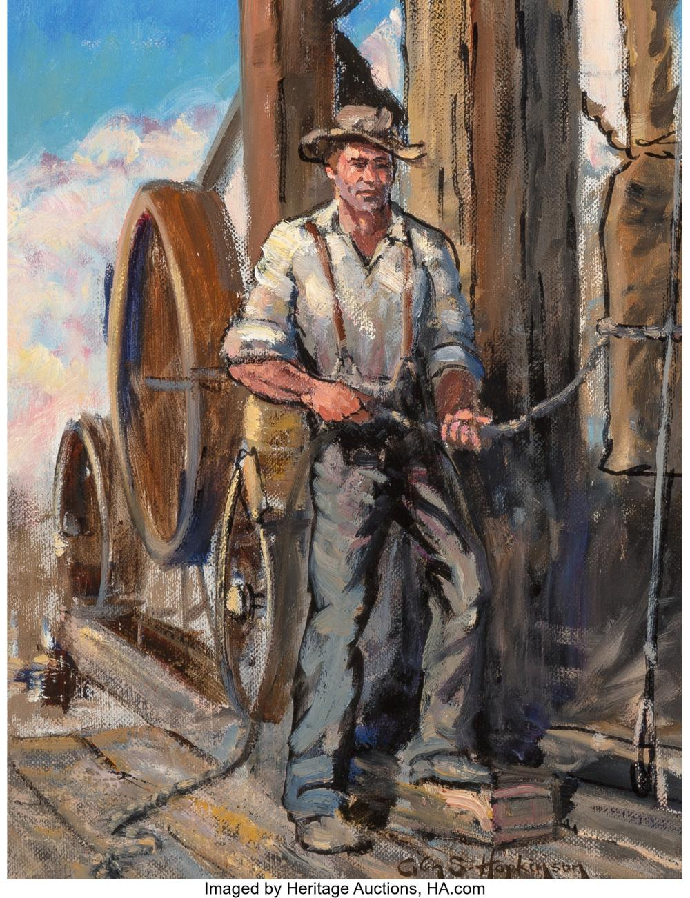 Glen Spencer Hopkinson (American, b. 1946) Vintage Driller Oil on canvas 12-1/2