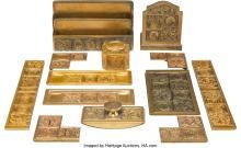 Lot 21136: Nine Tiffany Studios Gilt Bronze Bookmark Pattern Desk Articles, New York, circa