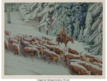 Lot 21126: Morton Künstler (b. 1931) Early Snow, 1977 Lithograph in colors on paper 19-1/2