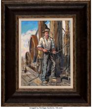 Lot 21125: Glen Spencer Hopkinson (American, b. 1946) Vintage Driller Oil on canvas 12-1/2