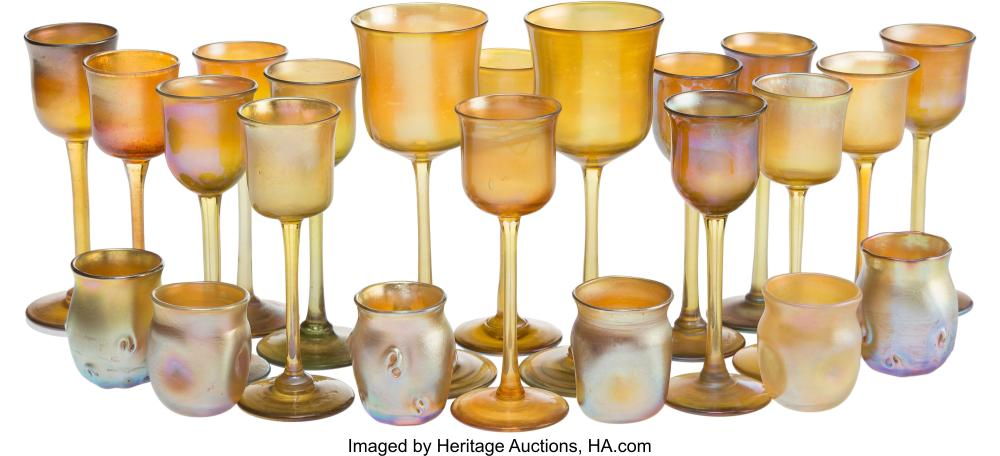 Lot 21130: Twenty-Two Tiffany Studios Favrile Glass Table Articles, New York, circa 1900 Ma