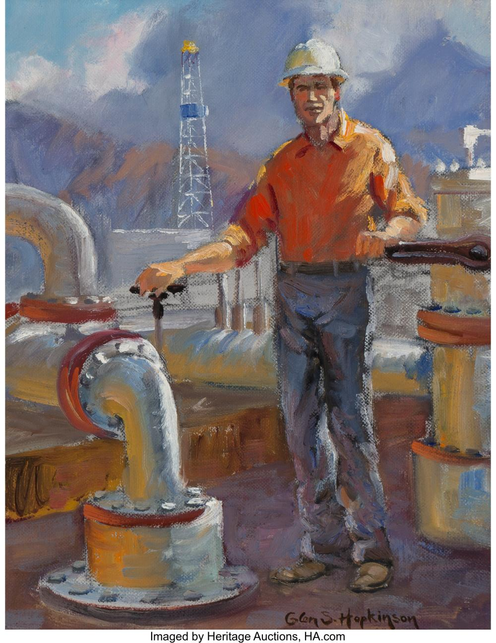 Glen Spencer Hopkinson (American, b. 1946) Modern Driller Oil on canvas 13 x 10