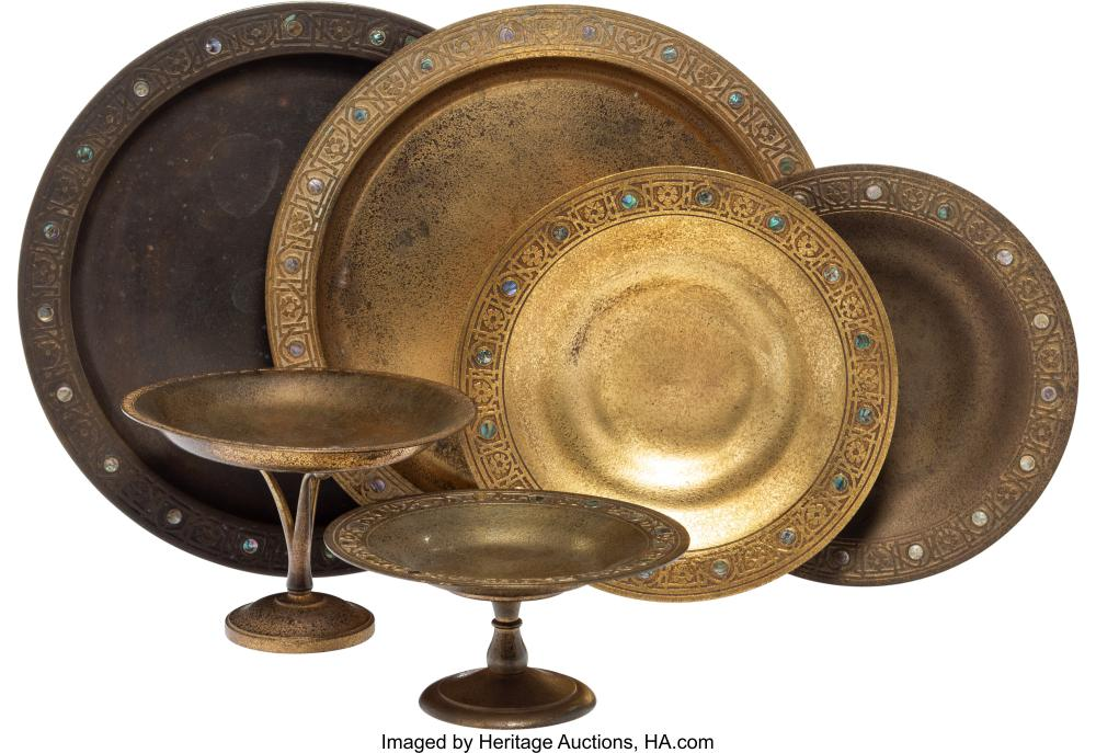 A Group of Six Tiffany Studios Gilt Bronze Plates and Compotes, circa 1920 Marks