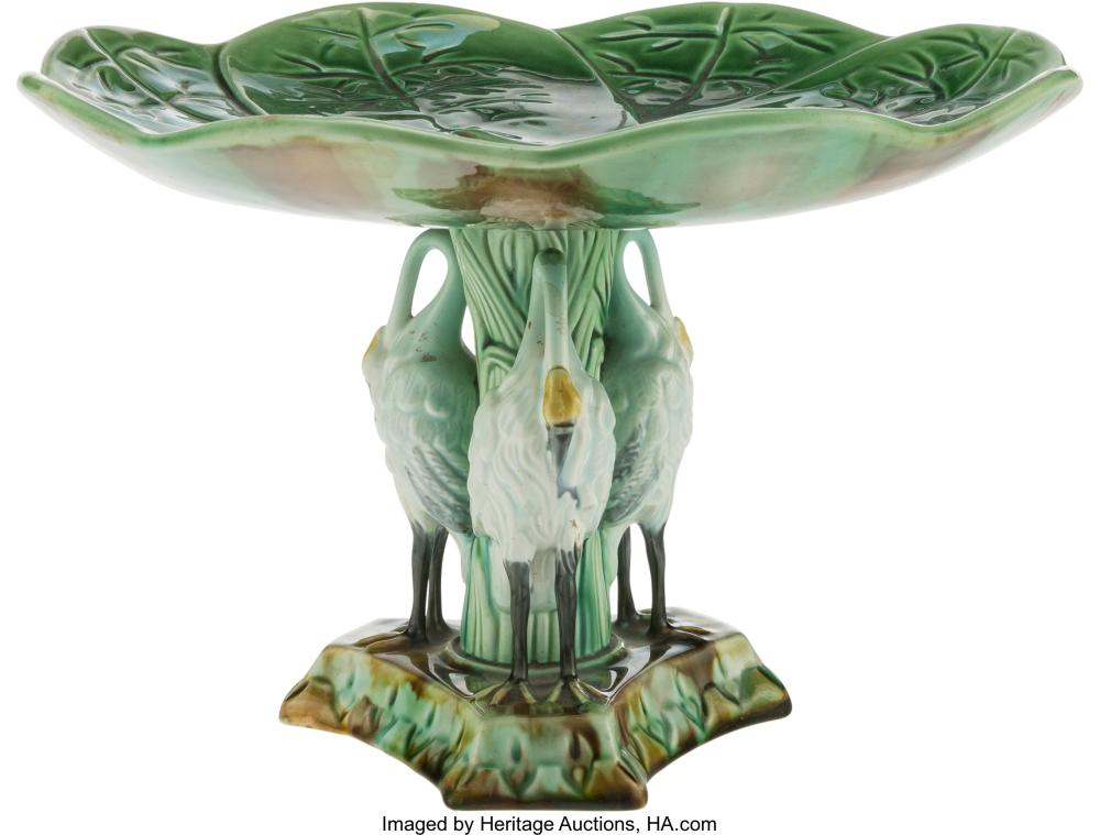 A Majolica Lily Pad-Form Compote, late 19th-early 20th century 6-1/4 x 9-1/4 inc