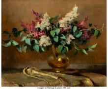 Lot 21156: René-Charles-Louis Debraux (French, 1850-1930) Still Life with Lilacs Oil on boa