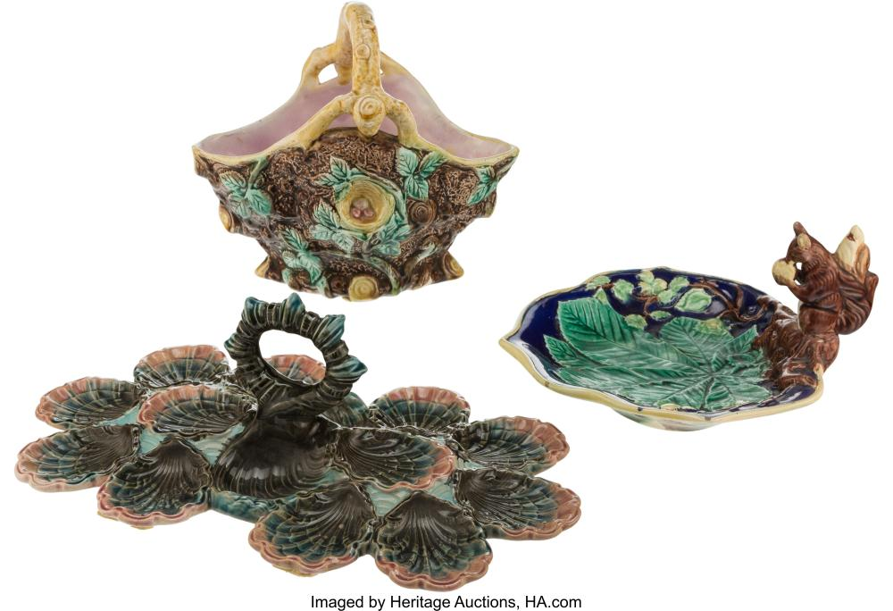 Three Majolica Dishes, late 19th-early 20th century Marks to oyster server: 4052