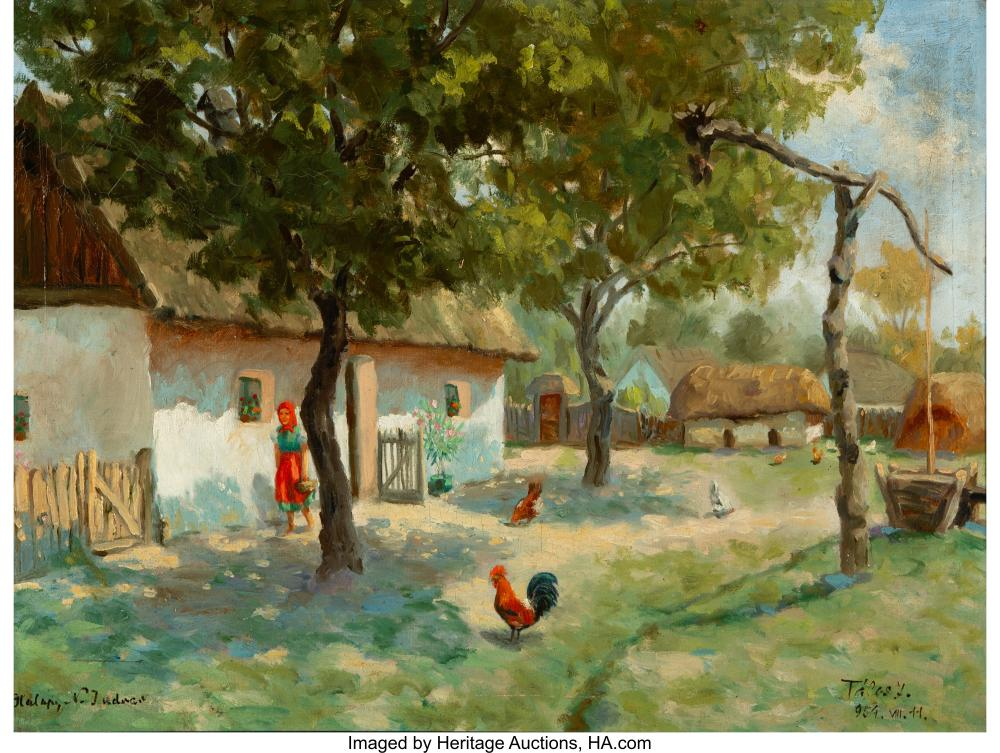 French School (19th Century) Farmyard Scene Oil on canvas 23-1/2 x 31-1/2 inches
