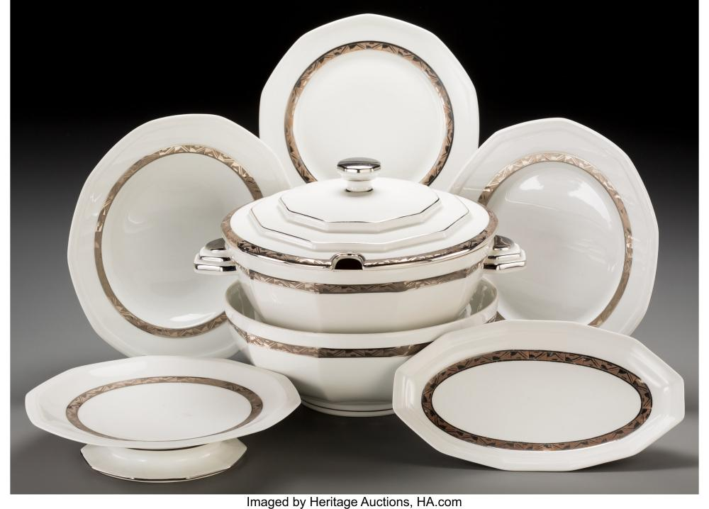 A Forty-Five Piece Salmon & Co. Limoges Ceramic Partial Service, circa 1930 Mark