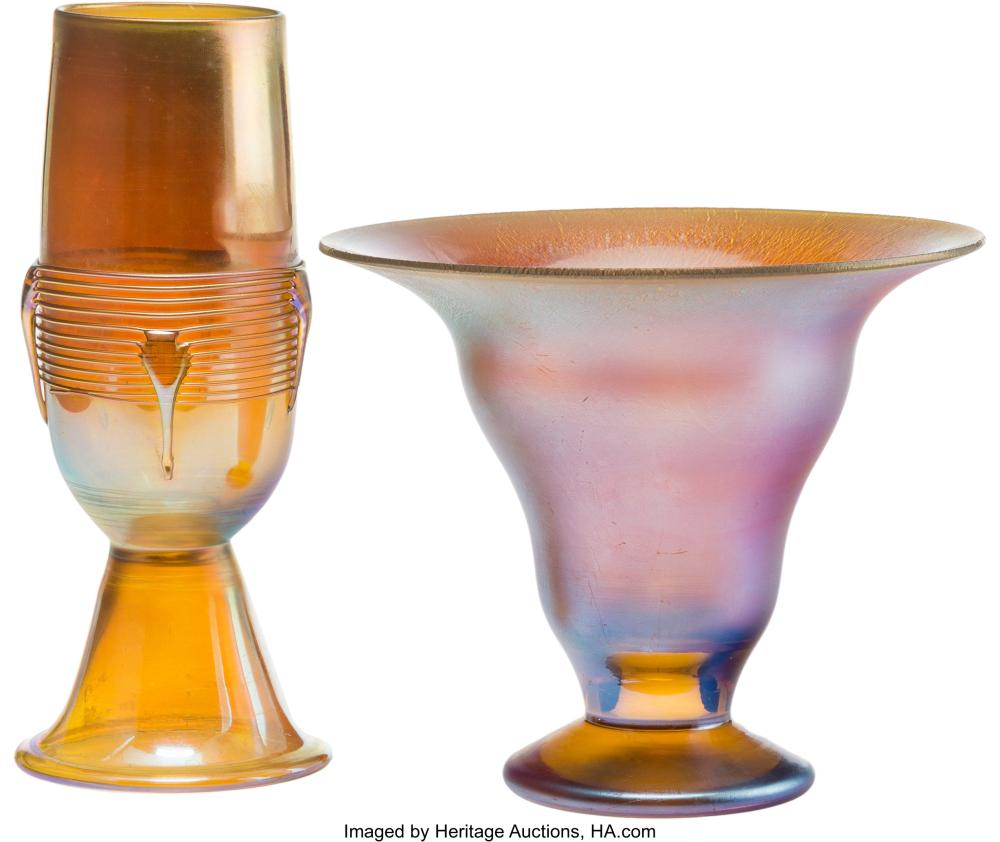 Lot 21143: A Tiffany Studios Gold Favrile Vase and An Iridescent Glass Vase, early 20th cen