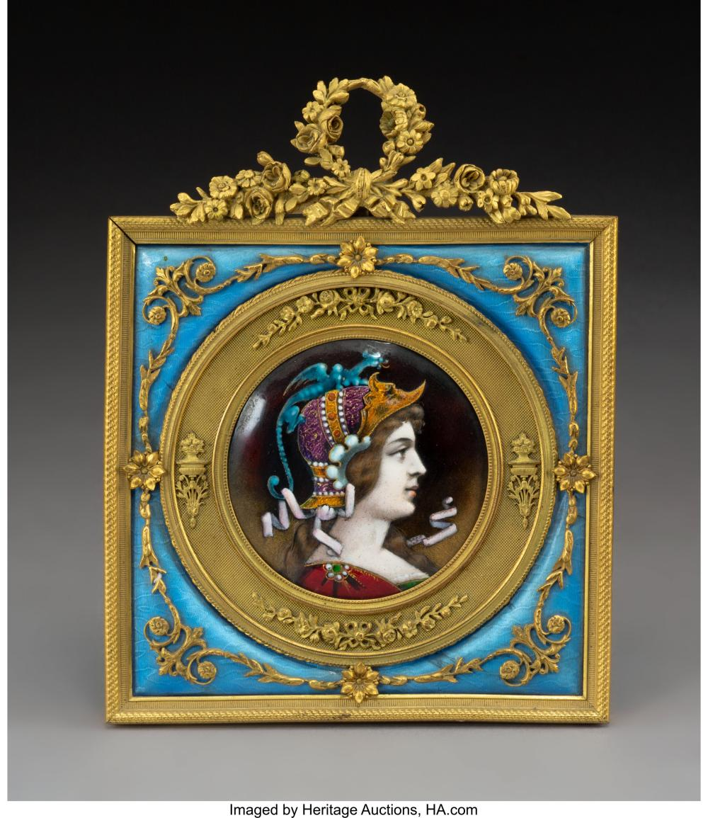 A French Enameled Porcelain Plaque with Guilloche and Gilt Bronze Frame, late 19