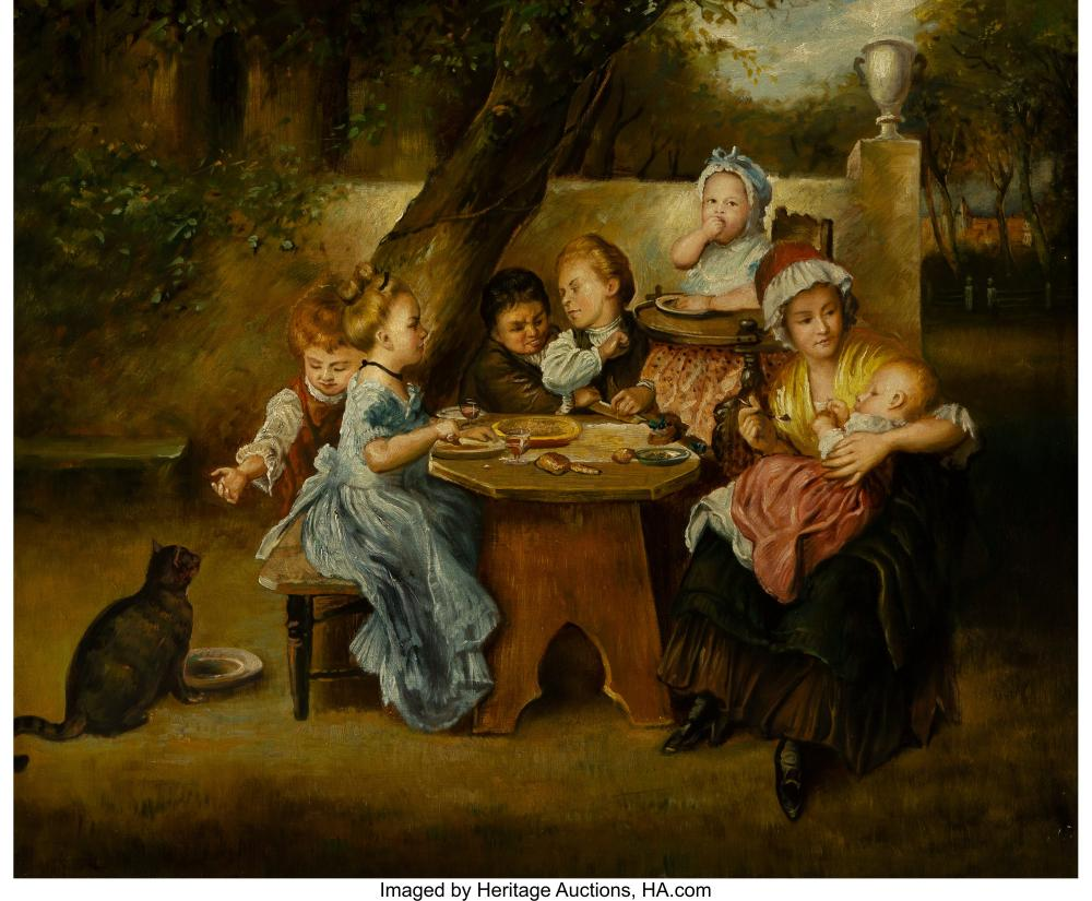 Lot 21155: Continental School (19th Century) The Children's Table Oil on canvas 25 x 30 inc