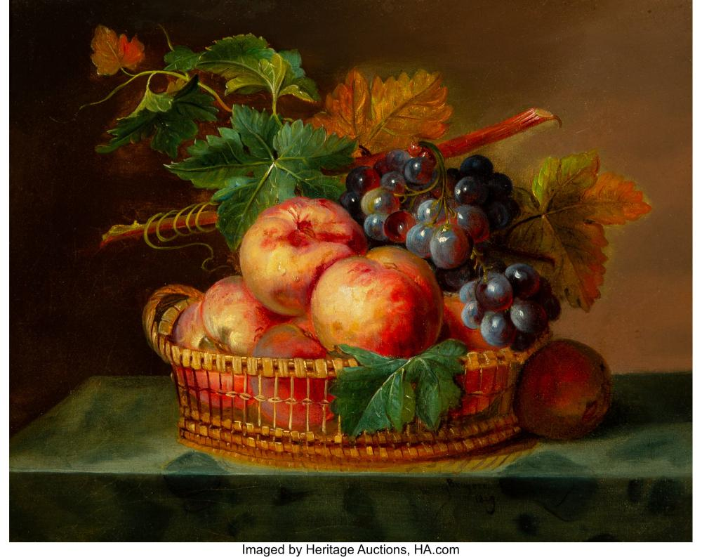 French School (19th Century) Still Life with Fruit, 1849 Oil on canvas 13 x 16 i