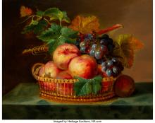 Lot 21154: French School (19th Century) Still Life with Fruit, 1849 Oil on canvas 13 x 16 i