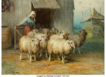 Lot 21159: Francis Wheaton (19th Century) Shepherdess with her Flock, 1900 Watercolor on pa