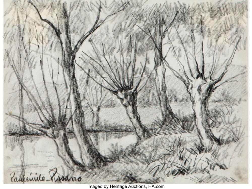 Lot 21160: PaulémilePissarro (French, 1884-1972) River Landscape Charcoal on paper 8 x 10-5