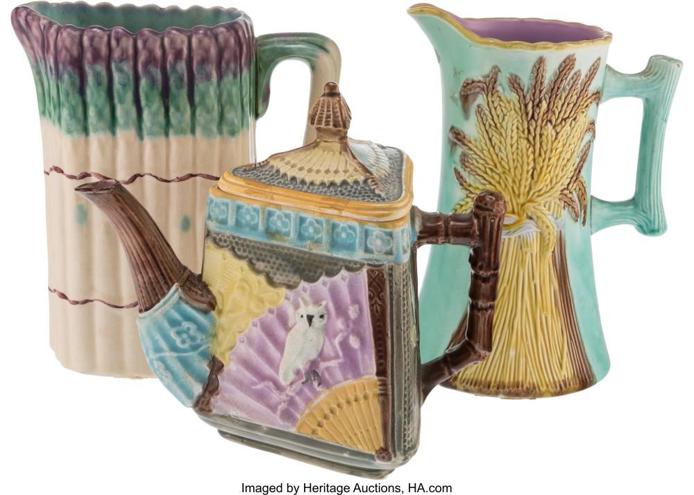 Three Majolica Table Articles, late 19th-early 20th century Marks to asparagus p