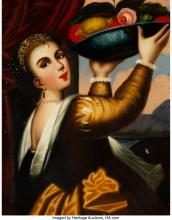 Lot 21157: Continental School (20th Century) Pair of Female Figures Oil on canvas, each 24