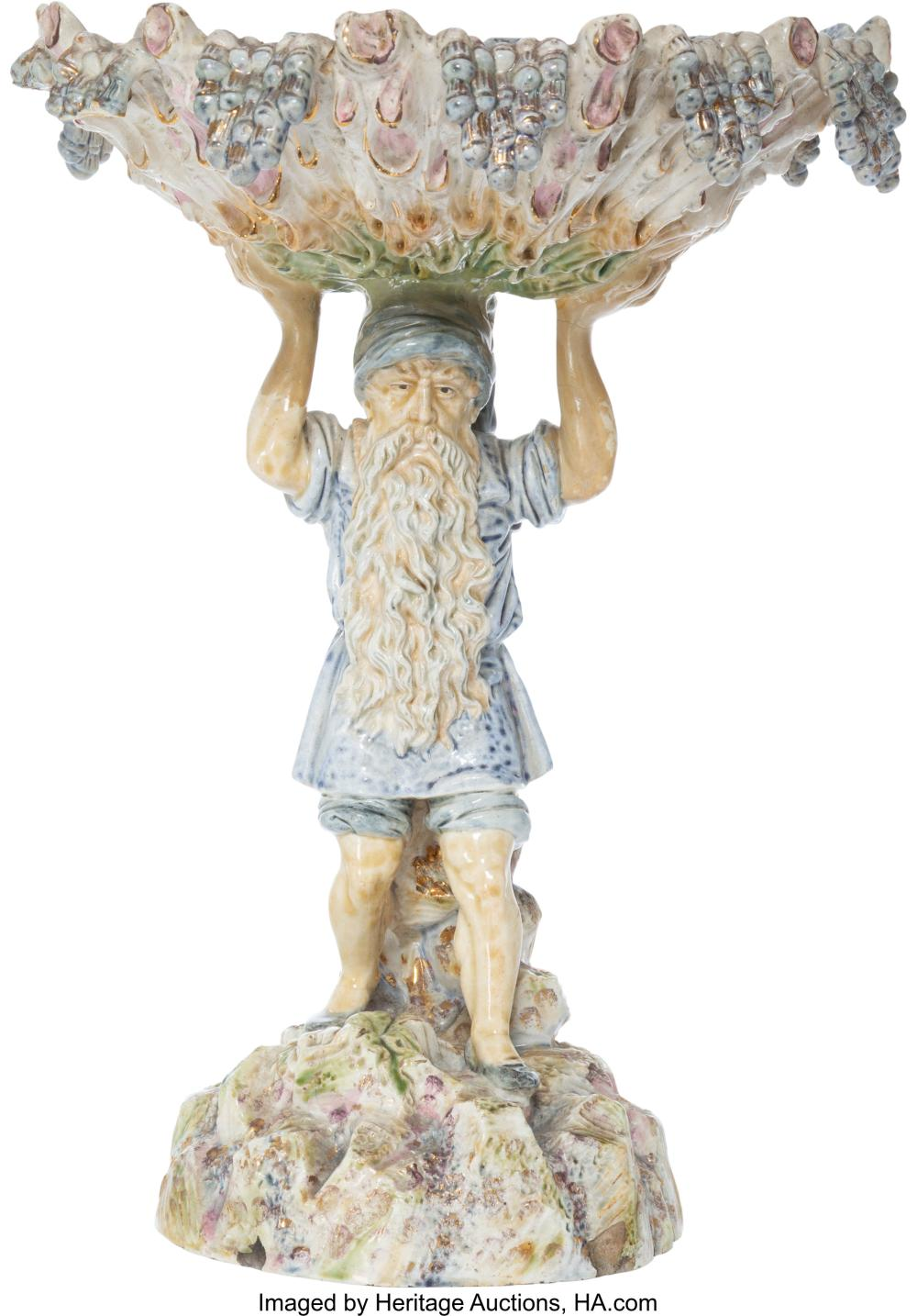 An Austrian Partial Gilt Ceramic Figural Centerpiece, circa 1890 Marks: (four-le