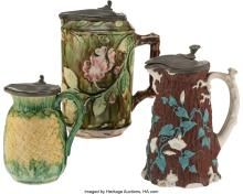 Lot 21149: A Group of Three Ceramic Covered Pitchers, mid 19th-early 20th century Marks to