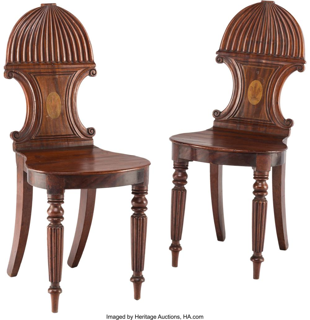 A Pair of William IV Inlaid Mahogany Hall Chairs, early 19th century 34-3/4 x 16
