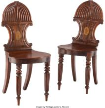 Lot 21179: A Pair of William IV Inlaid Mahogany Hall Chairs, early 19th century 34-3/4 x 16