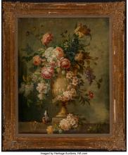 Lot 21176: Franco-Flemish School (18th Century) Still Life with Flowers in an Urn on a Ledg