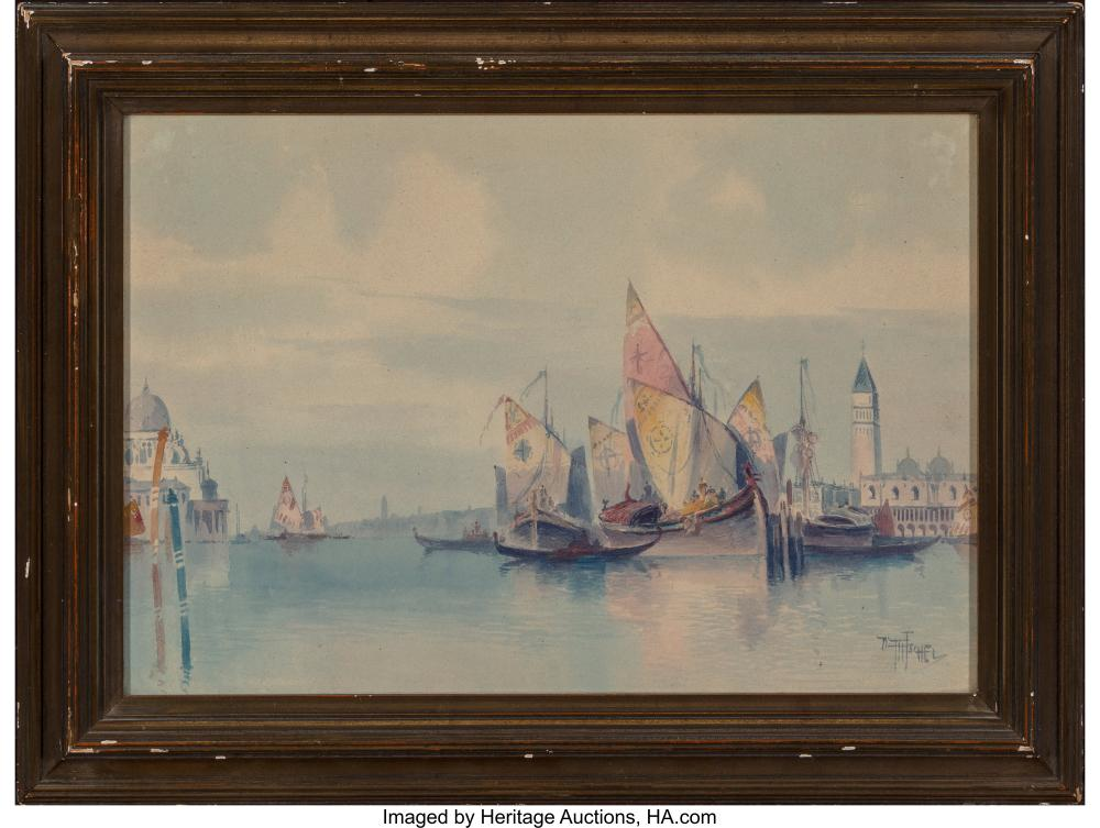 Lot 21171: William Ritschel (American, 1864-1949) Sails in Venice Watercolor on paperboard