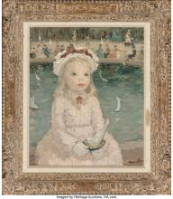 Lot 21172: Dietz Edzard (German, 1893-1963) Young Girl with a Toy Boat, Jardin des Tuilerie