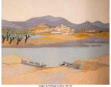 Lot 21166: Andre Bourrie (French, b. 1936) Le Soleil sur la Riviere Oil on canvas 44 x 56 i