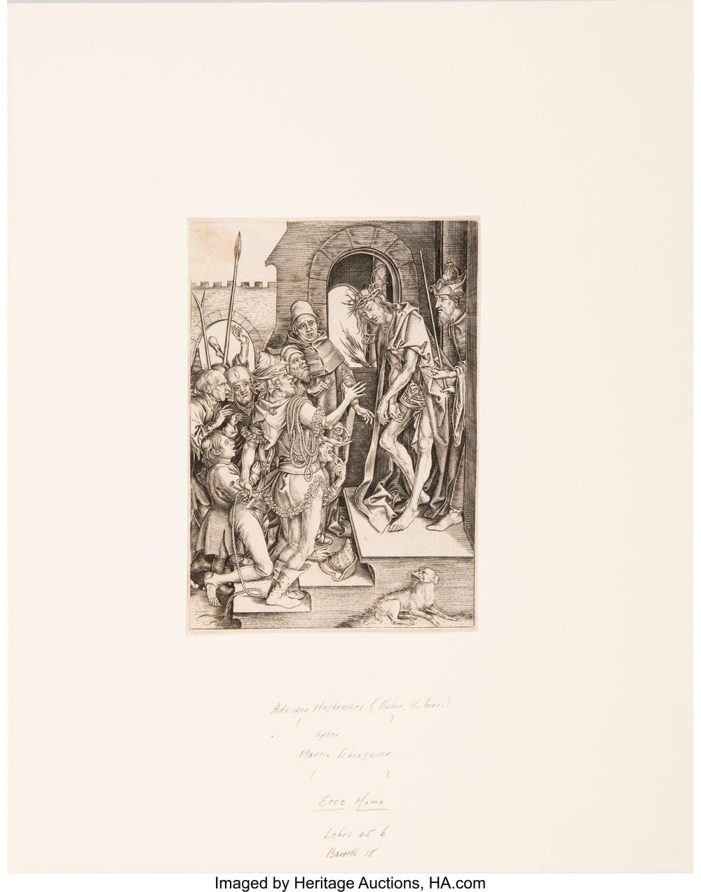 Lot 21165: After Martin Schongauer By Adriaen Huybrechts Ecce Homo Engraving on laid paper