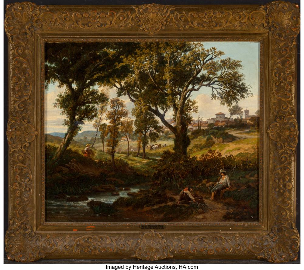 Lot 21163: Charles Lefevre (French, 1805-1890) Florence, 1846 Oil on canvas 20 x 24-1/2 inc