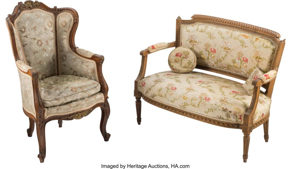 A Louis XV-Style Fruitwood Children's Fauteuil d'Oreilles and a Louis XVI-Style