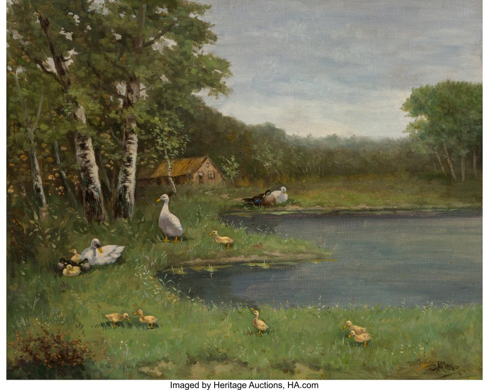 Lot 21173: J. Rieter (20th Century) Family of Ducks Oil on canvas 16 x 20 inches (40.6 x 50