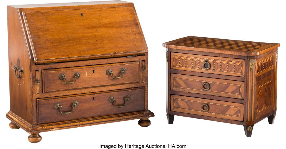 A Miniature George III-Style Fruitwood Secretary and a Miniature Italian Parquet